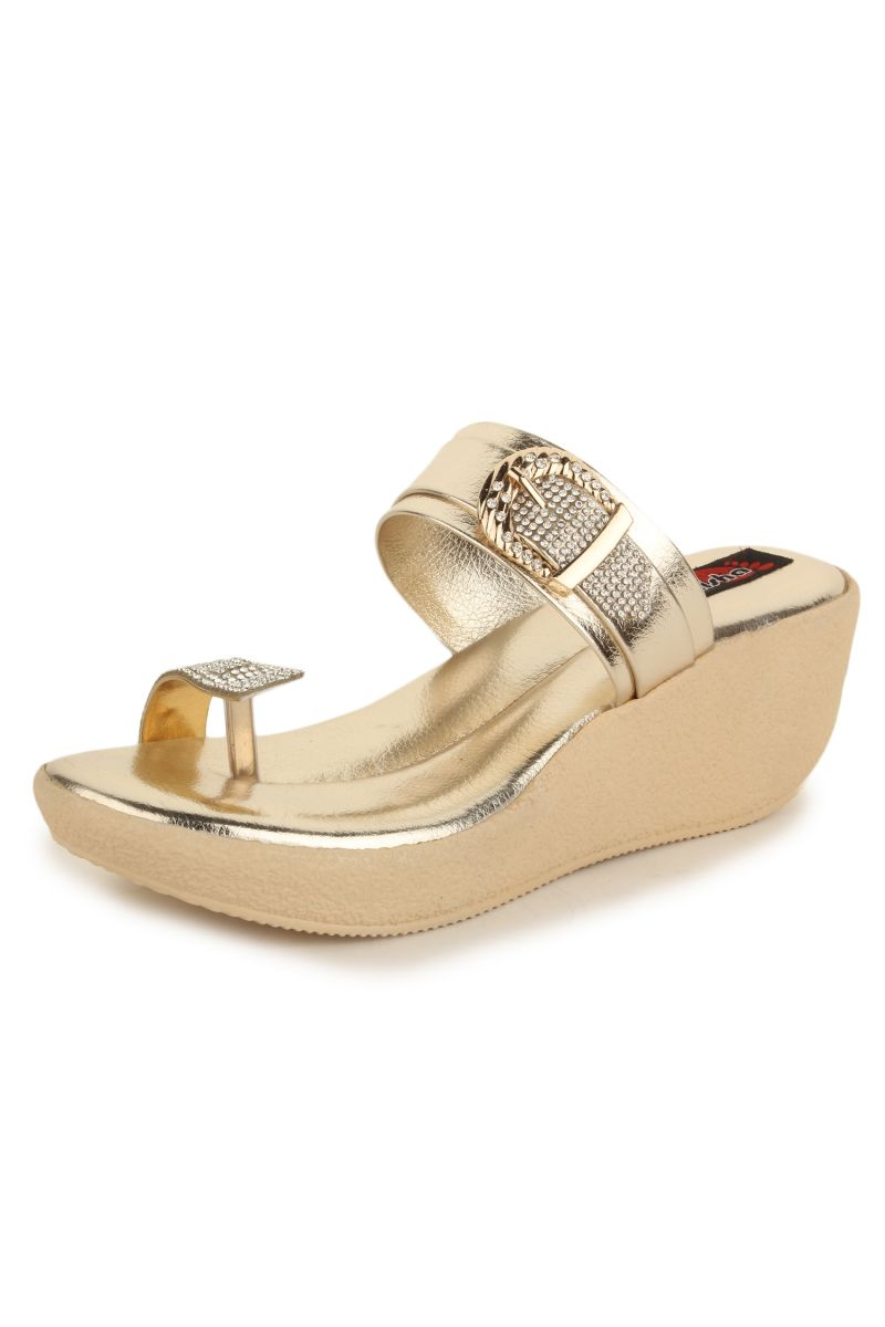 226c2c0a303a5f Naisha Women s Synthetic Leather Gold Platform Slippers (code - Sc-nk-299-.  40%