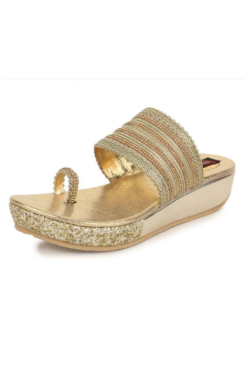 61097ff7787253 Naisha Women s Synthetic Leather Gold Platform Slippers (code - Sc-pt-182-.  40%