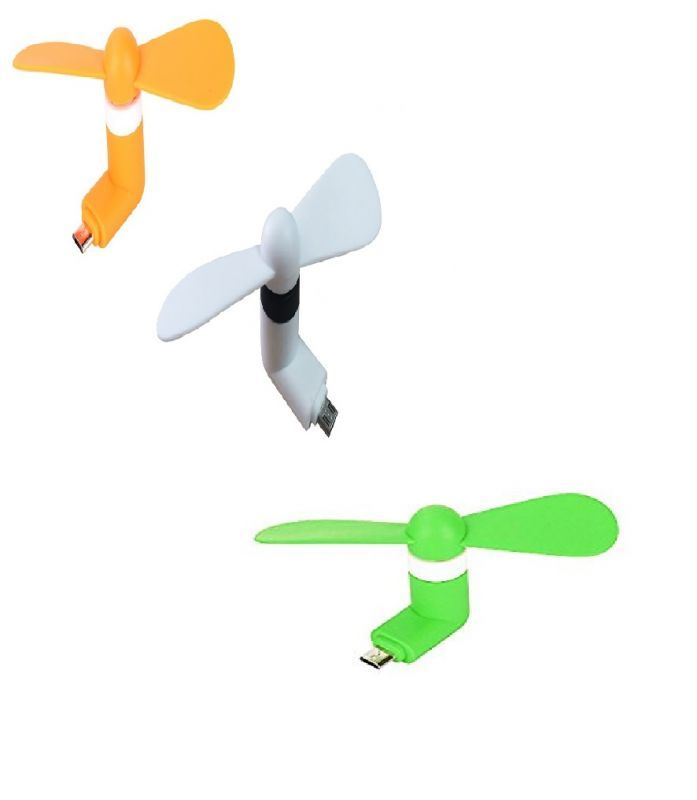 Buy Tricolor V8 Mini Fan For Smartphones (pack Of 3) online