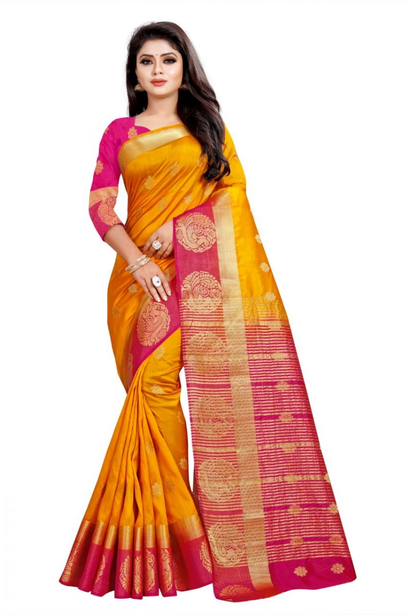 Buy Mahadev Enterprises Chiku And Pink Kanjiwaram Silk Saree With Running Blouse Pics online
