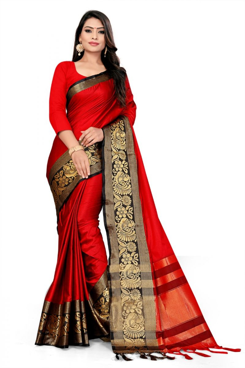Buy Mahadev Enterprise Red And Black Soft Cotton Silk Saree With Running Blouse Pics online