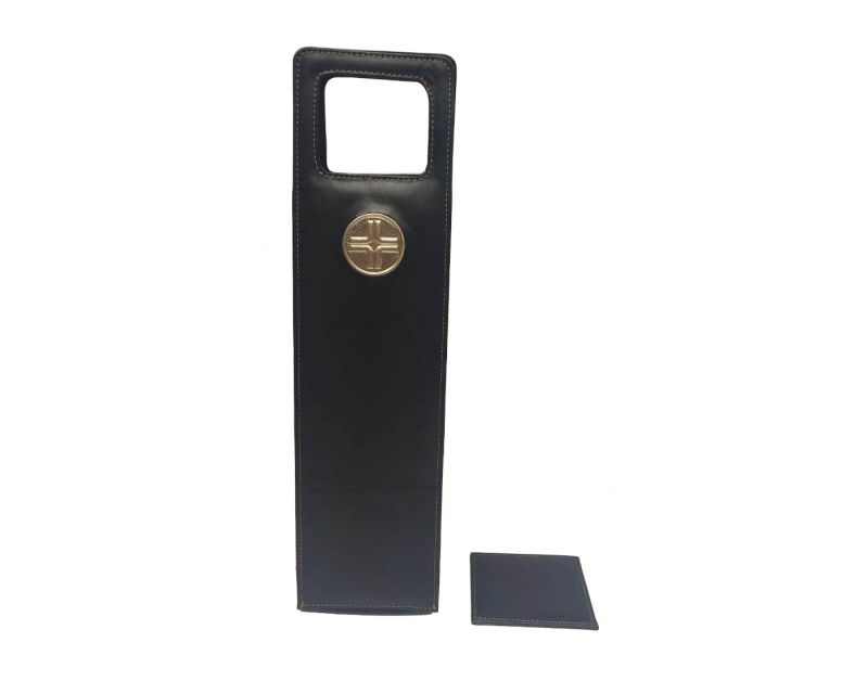 Buy Jl Collections Black Faux Leather Wine Bottle Holder With Coaster (code - Jl_3473) online