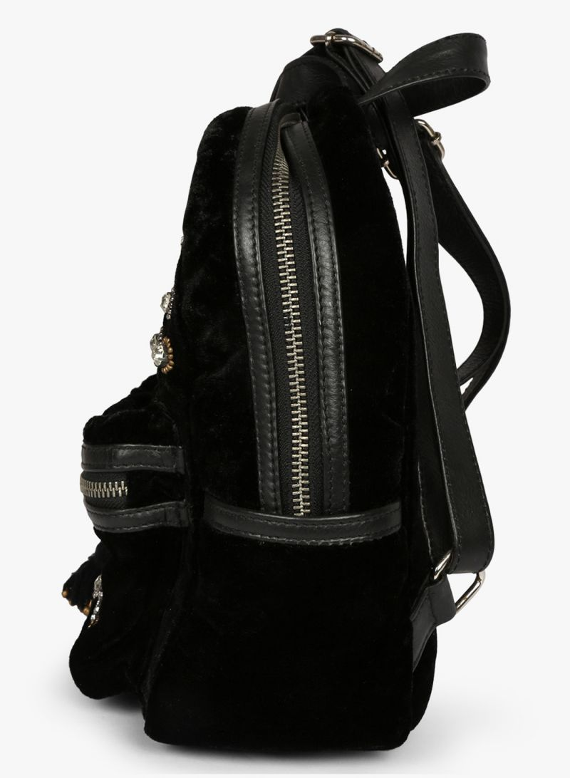 e4c8e3c229d8 Jl Collections Velvet Black Butterfly Patch Design Embroidery   Stone Fancy  Backpack For Girls. 10%
