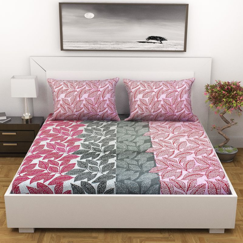 26f59d1bd7 Buy Indiana Home Floral Cotton Pink Double Bed Sheet With 2 Pillow Cover  (code -