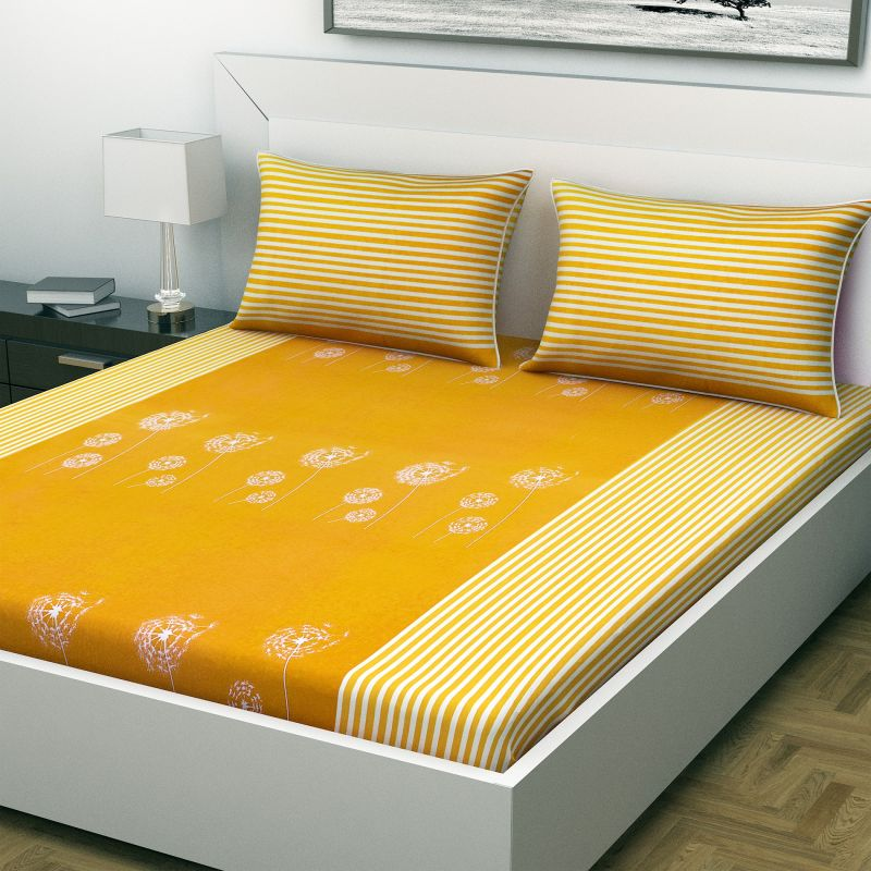 6e82d5a89e Buy Indiana Home Abstract Yellow Cotton Double Bed Sheet With 2 Pillow Cover  (code -