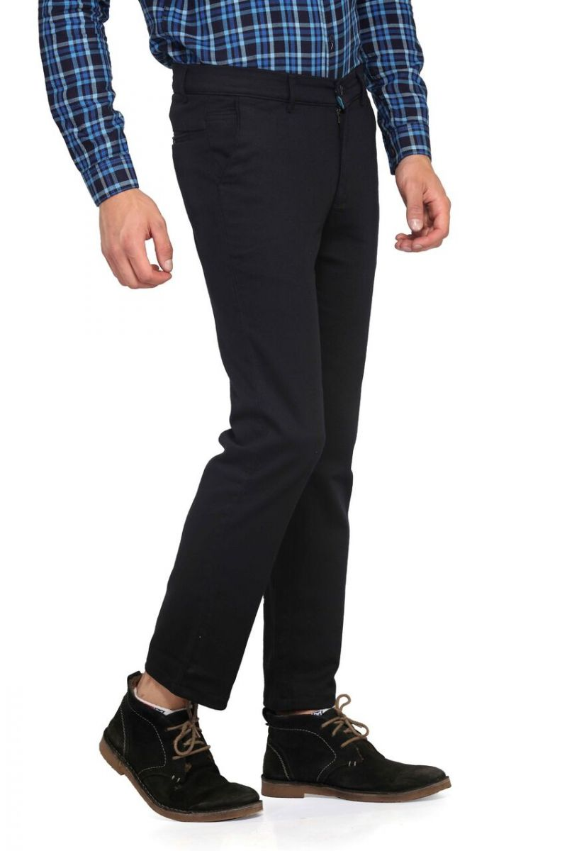 Buy Mr. Stag Men's Cotton Haiti Blue Casual Trouser (code - Trouser Ng007) online