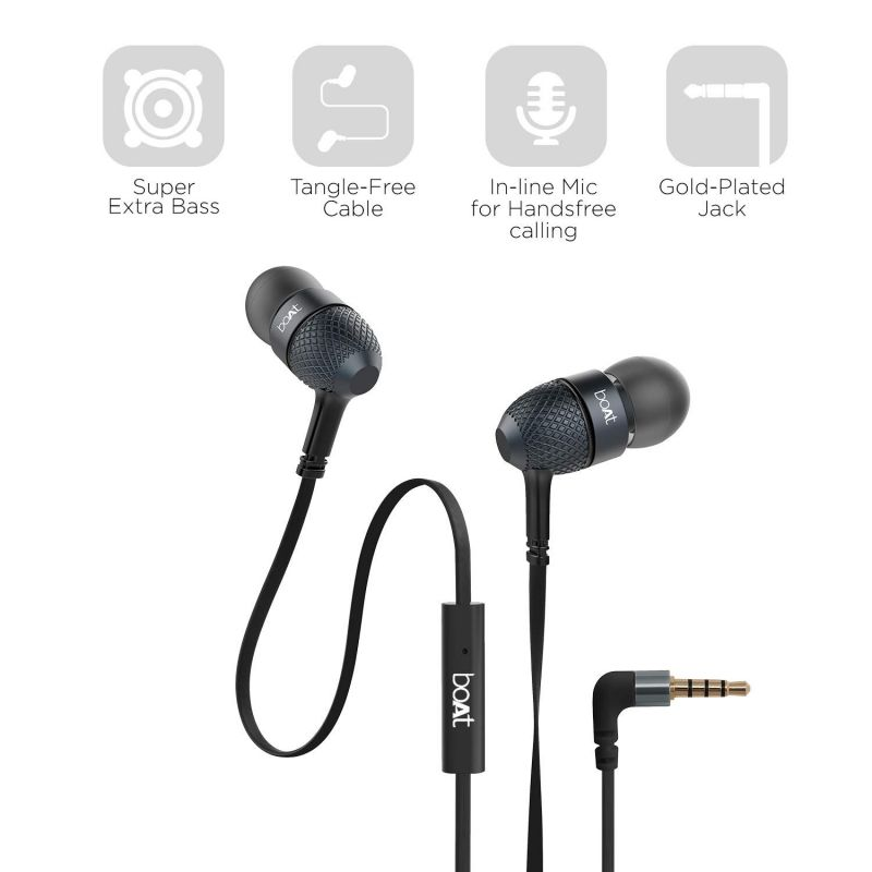 Buy Balaji Boat Bassheads 225 In-ear Super Extra Bass Headphones ( Black ) online
