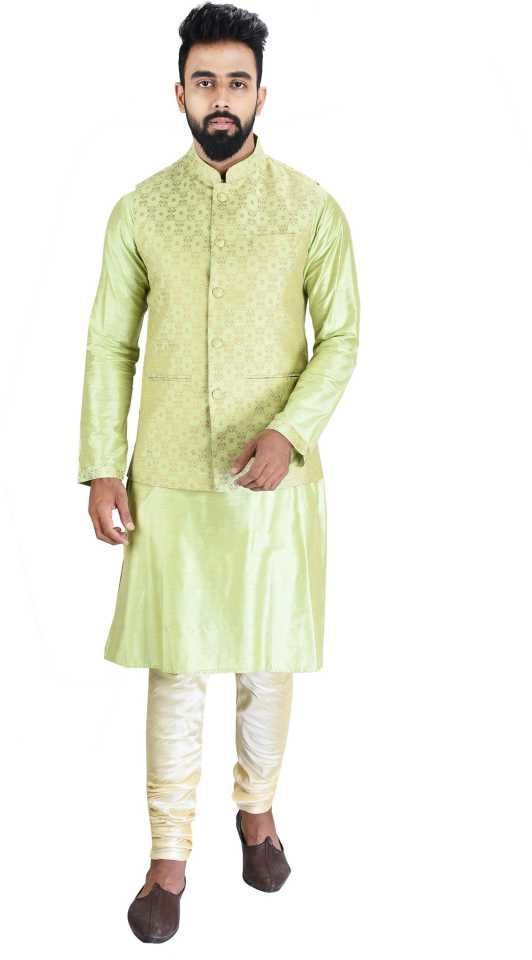 Buy Men Kurta, Ethnic Jacket And Pyjama Set Cotton Silk ( Code - Ethset016) online