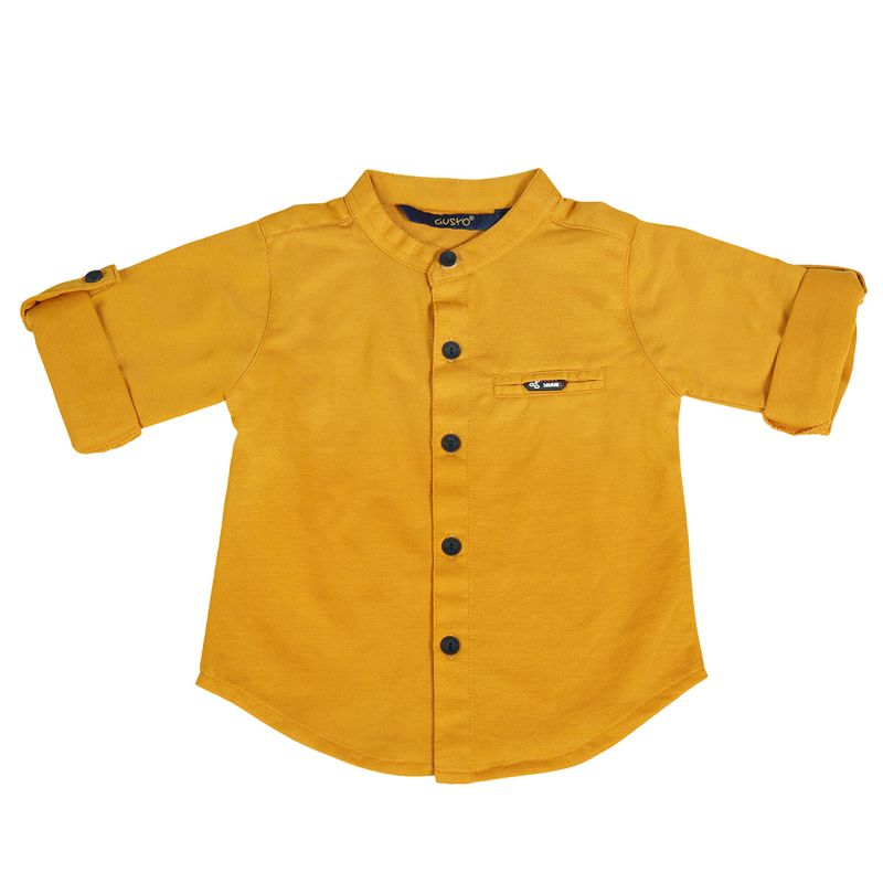 Buy Gusto  Baby Boy's Solid Mustard Cotton Blend Full Sleeved Shirt online