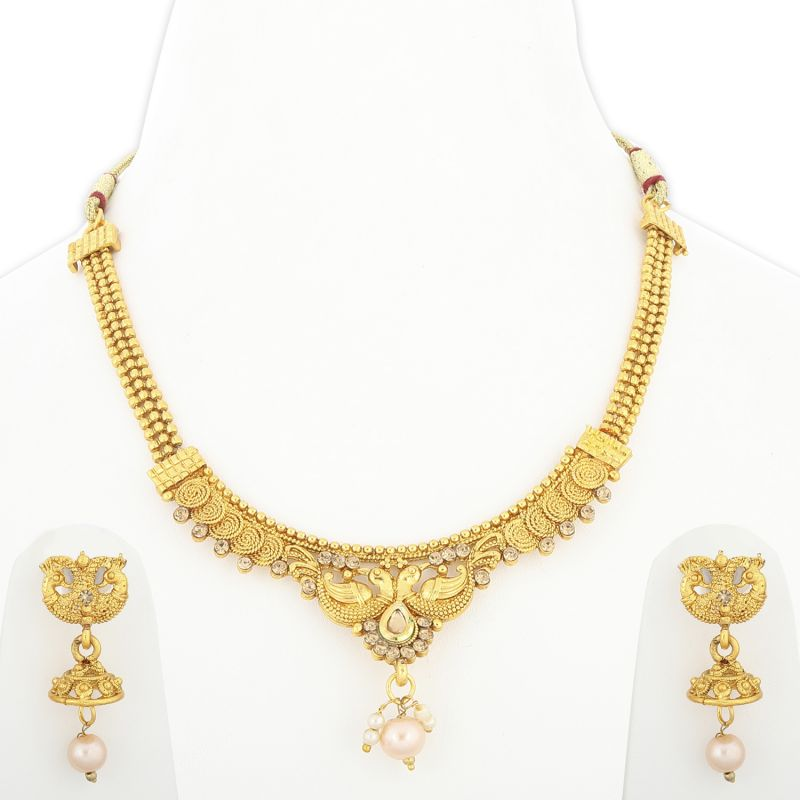 Buy Silver Shine Traditional Gold Plated Unique Peacock Style