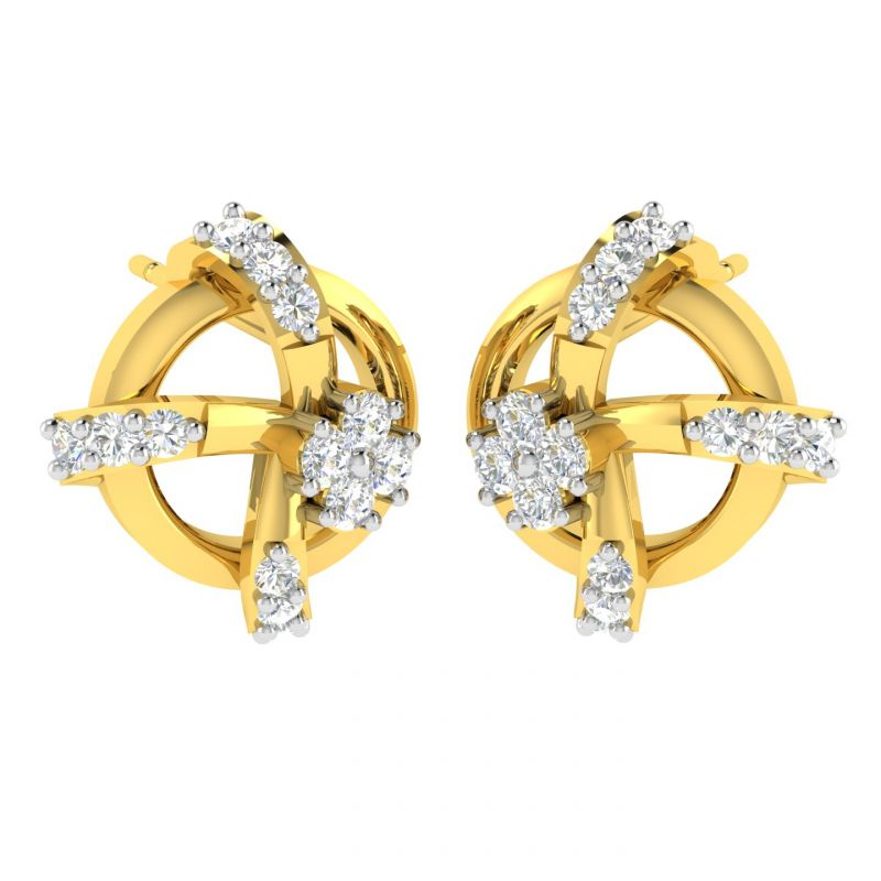 Buy Avsar Real Gold And Diamond Diksha Earring (code - Ave355a) online