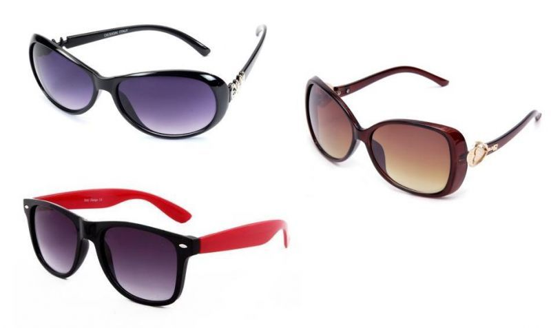 Buy Set Of 3 Womens Sunglasses- Black Oval , Red Wayfarers And Brown Designer online
