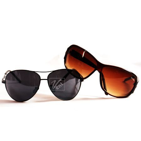 Buy Buy 1 Black Sunglasses For Men Get 1 Women Brown Sunglasses Free online