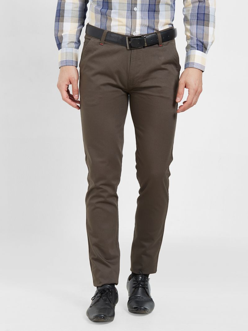 Buy Solemio Cotton Lycra Brown Chinos For Mens online