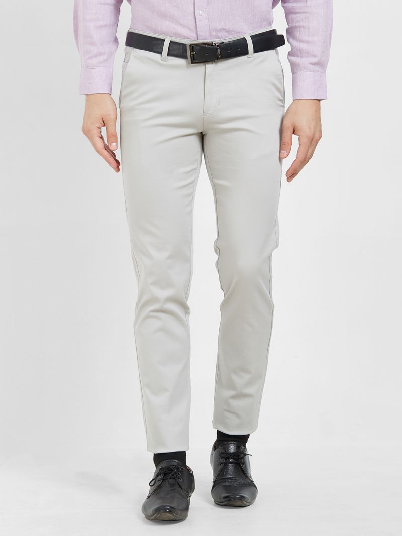 Buy Solemio Cotton Lycra Grey Chinos For Mens online